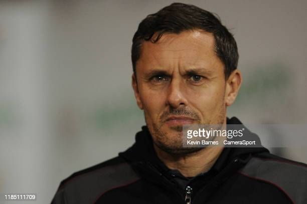 Scunthorpe United manager Paul Hurst during the Leasingcom Trophy Second Round match between Blackpool and Scunthorpe United at Bloomfield Road on...