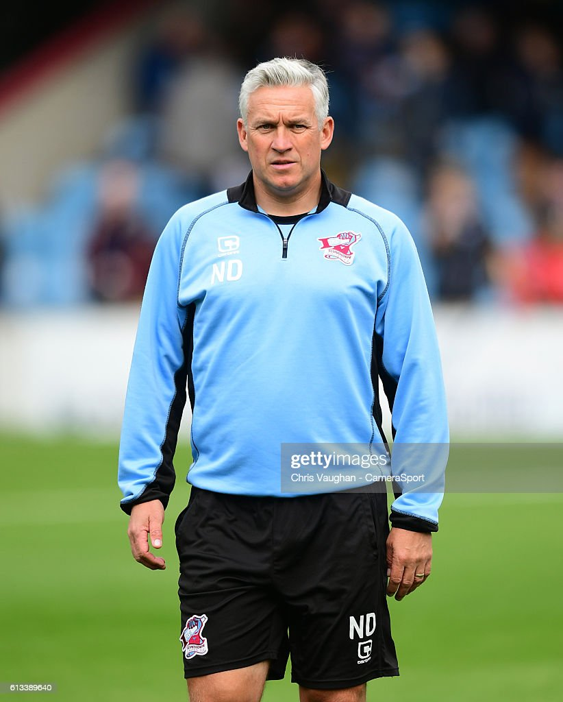 Scunthorpe Uniteds Nick Daws during the pre-match warm-up before the Sky Bet League One match between Scunthorpe United and Northampton Town at Glanford Park on October 8, 2016 in Scunthorpe, England.