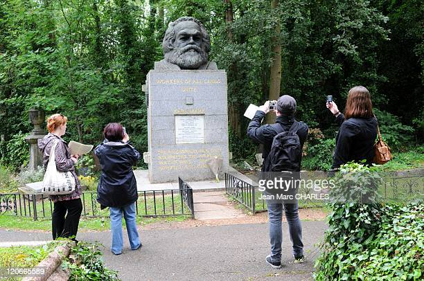 Scuplture of Karl Marx Grave in London United Kingdom on January 01 2010 Karl Marx' Grave Highgate Cemetery East