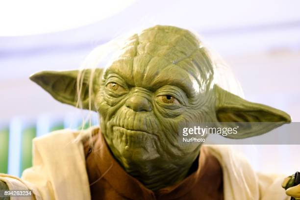 A scuplture of Yoda is exhibited at the 'Star Wars Exhibition' at Telefonica flagship store on December 17 2017 in Madrid Spain
