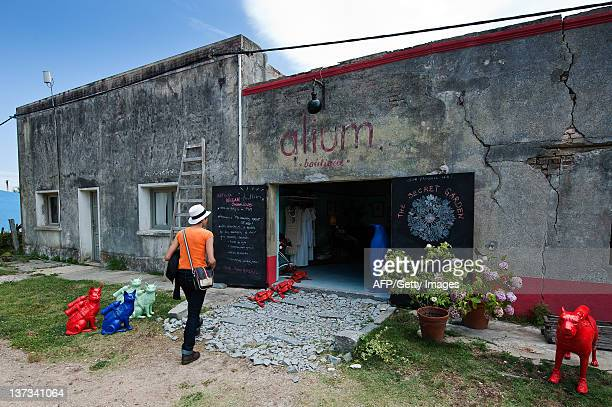 Scupltures by Belgian artist William Sweetlove are displayed outside of the Alium art Boutique in Pueblo Garzon 187 Km east from Montevideo on...