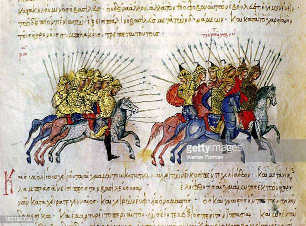 Scylitzes chronicle A miniature depicting a battle that took place in AD 842 between the cavalry of the Byzantines and the Arabs Byzantine 11th c...