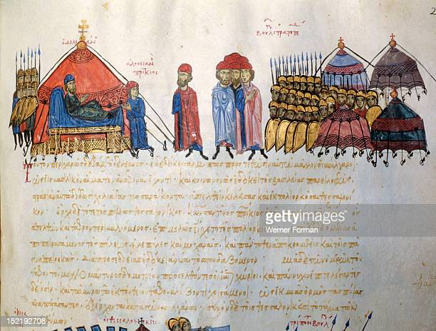 Scylitzes chronicle Folio 217rThe Bulgars are besieging Thessaloniki and their leader Deleanos receives a fellow commander in his tent The tented...