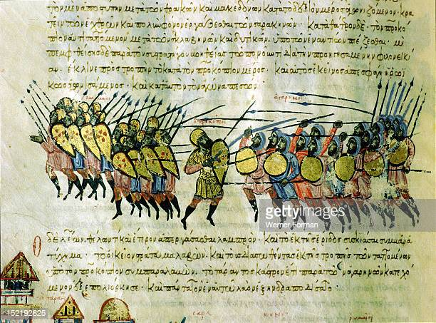 Scylitzes chronicle Folio 99 The foot soldiers of Emperor Basil 1 distinguished by their long shields deserting their general in the face of hostile...