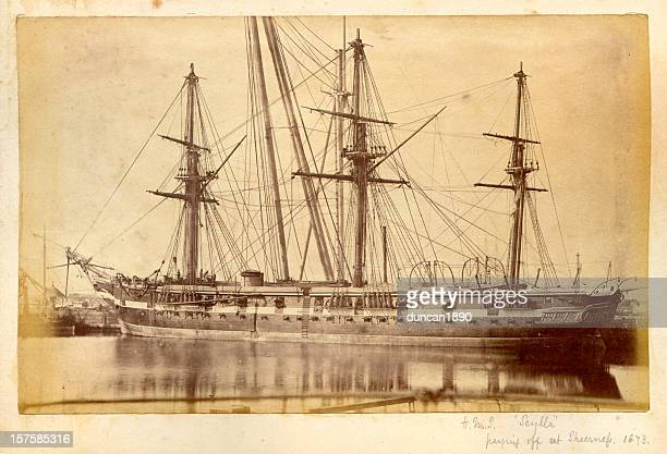 hms scylla - 19th century royal navy warship - pirate ship stock photos and pictures