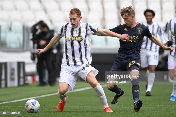 SDejan Kulusevski of Juventus FC against Nicolò Rovella of Genoa CFC during the Serie A match between Juventus and Genoa CFC at Allianz Stadium on...