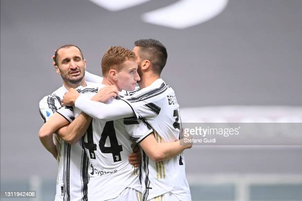 SDejan Kulusevski of Juventus FC celebrates a goal with his team during the Serie A match between Juventus and Genoa CFC at Allianz Stadium on April...