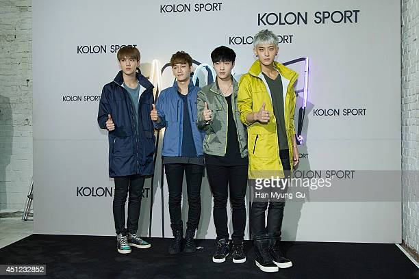 Se Hun Chen Lay and Tao of boy band EXO attend the Kolon Sport 2014 A/W fashion show on June 25 2014 in Seoul South Korea