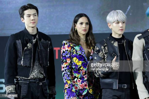 Se Hun of boy band EXO Adria Arjona Baek Hyun of boy band EXO attend the world premiere of Netflix's '6 Underground' at Dongdaemun Design Plaza on...