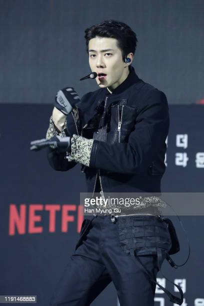 Se Hun of boy band EXO performs on stage during the world premiere of Netflix's '6 Underground' at Dongdaemun Design Plaza on December 02 2019 in...
