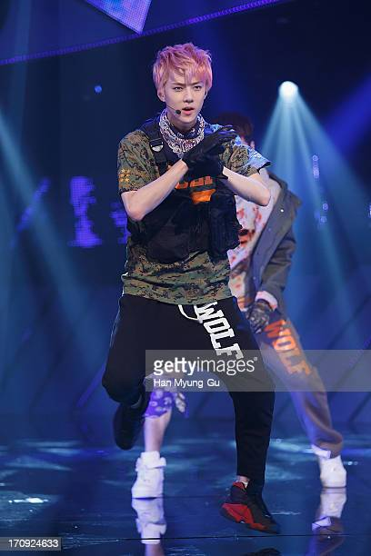 Se Hun of boy band EXO performs onstage during the Mnet 'M CountDown' at CJ EM Center on June 20 2013 in Seoul South Korea