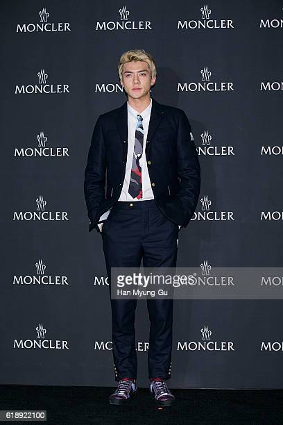 Se Hun of boy band EXOK attends the photocall for 'MONCLER' flagship store opening on October 28 2016 in Seoul South Korea