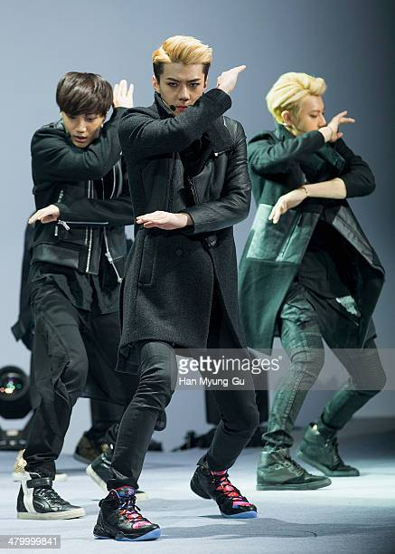Se Hun of boy band EXOK performs onstage the Seoul Fashion Week A/W 2014 at DDP on on March 21 2014 in Seoul South Korea