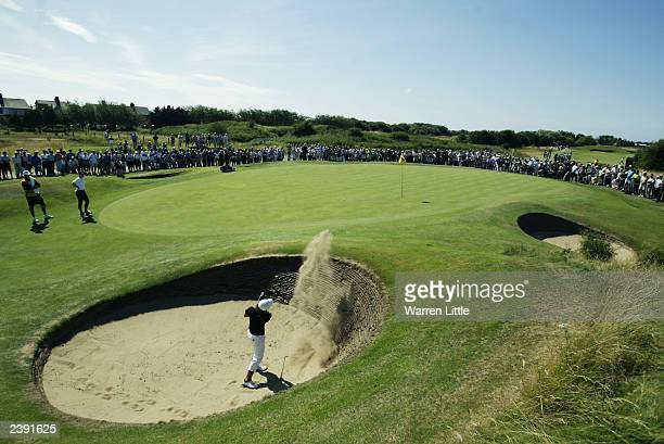 Se Ri Pak of Korea plays out of the greenside bunker on the 10th hole during the final round of the Weetabix Women's British Open held on August 3...