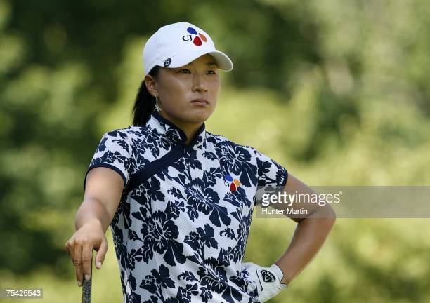 Se Ri Pak of Korea waits to hit her tee shot on the 17th hole during the final round of the Jamie Farr Owens Corning Classic on July 15 2007 in...