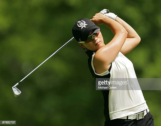 Se Ri Pak of South Korea hits an iron shot during the second round of the LPGA Corning Classic at the Corning Country Club held on May 22 2009 in...