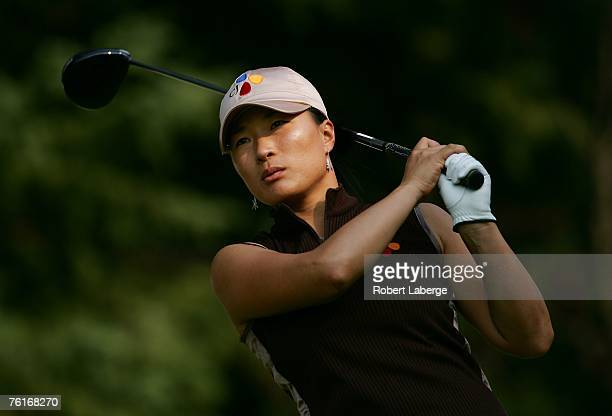 Se Ri Pak of South Korea makes a tee shot on the seventh hole during the second round of the LPGA CN Canadian Women's Open 2007 on August 17, 2007 at...