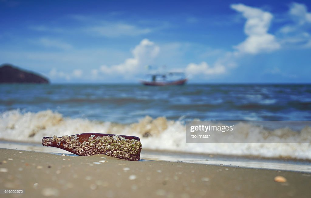 sea acorn colony on bottle dumped pollute at  beach : Stockfoto