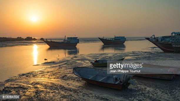 Sea and boats in Laft, Qeshm Island, Persian Gulf, Southern Iran