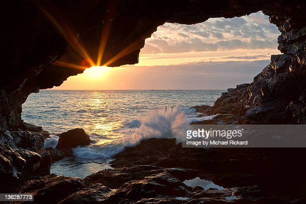 sea anemone cave sunrise - bar harbor stock photos and pictures