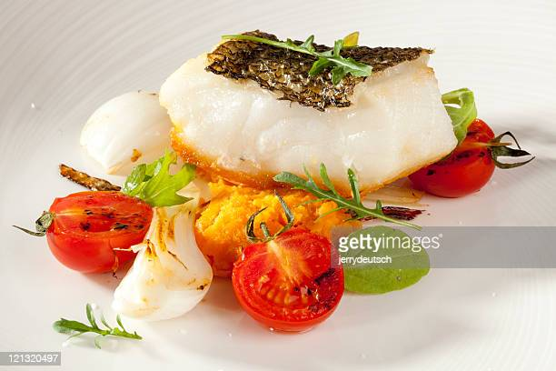 Sea bass and vegetables for dinner