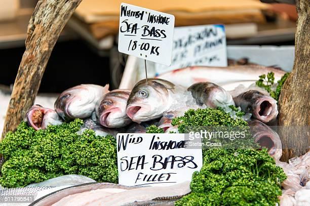 sea bass for sale in borough market - borough market stock-fotos und bilder
