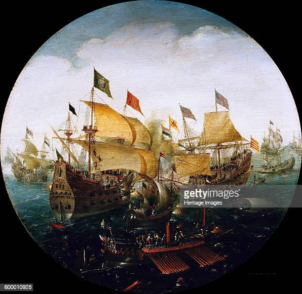 Sea battle between the Dutch and Spanish ships 1604 Found in the collection of Staatliche Museen Berlin Artist Aert Anthonisz