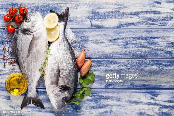 pargo e ingredientes para temperar e cozinhar o peixe - peixe - fotografias e filmes do acervo