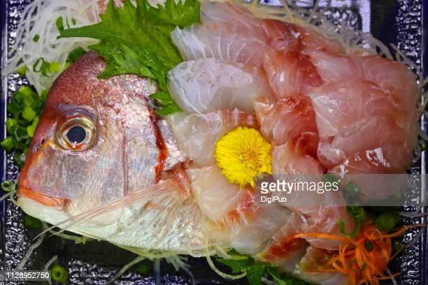 sea bream sashimi - sashimi fotografías e imágenes de stock
