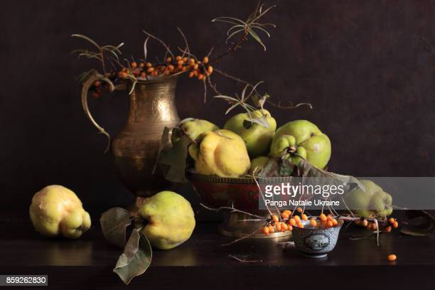 sea buckthorn berries and quinces - nature morte photos et images de collection