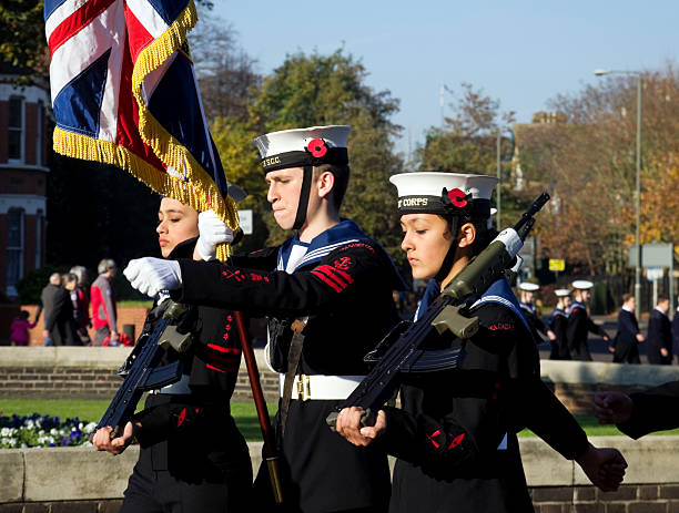 Sea Cadets marching on Remembrance Sunday