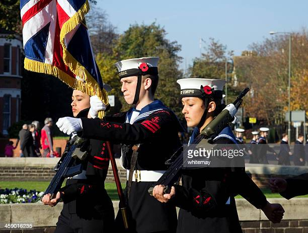 sea cadets marching on remembrance sunday - royal navy stock pictures, royalty-free photos & images