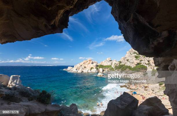 sea cave, capo testa, sardinia, italy - italia stockfoto's en -beelden