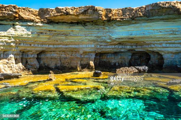 sea caves near ayia napa, cyprus - republic of cyprus stock pictures, royalty-free photos & images