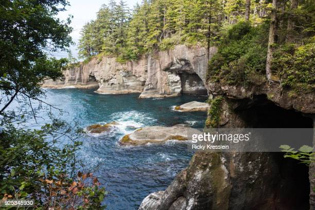 sea caves - rialto beach stock photos and pictures