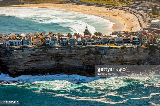 sea cliff and bondi beach, sydney, australia - sydney stock pictures, royalty-free photos & images
