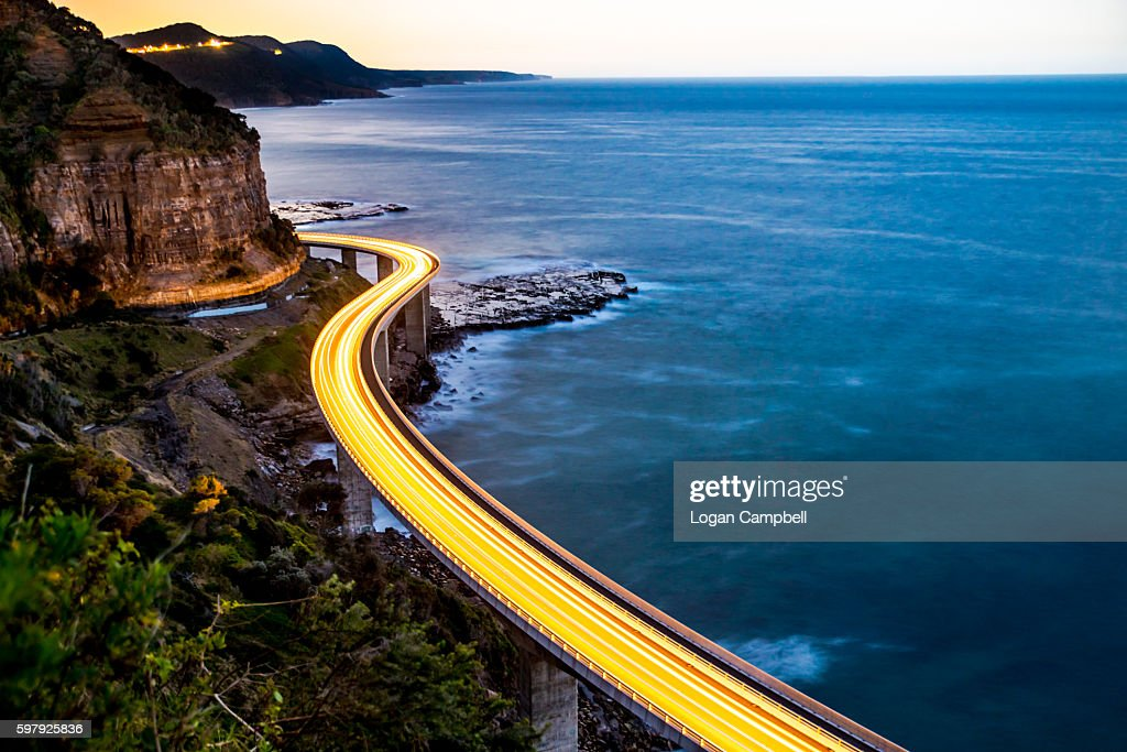 Sea Cliff Bridge Light Trails traffic : Stock Photo