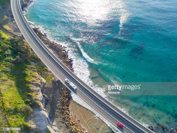 sea cliff bridge, new south wales aerial - new south wales stock pictures, royalty-free photos & images