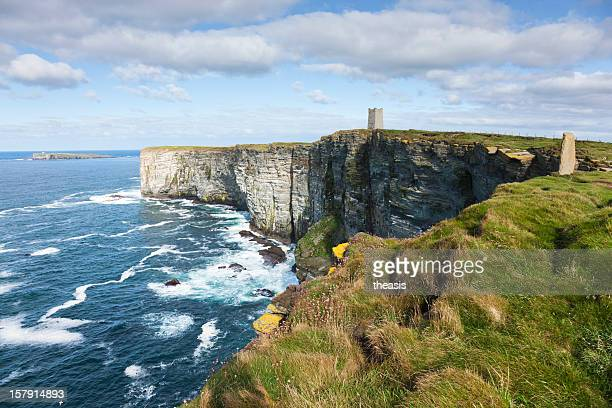 sea cliffs at marwick head - theasis stock pictures, royalty-free photos & images