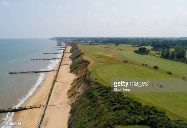 Sea defenses protecting cliffs from coastal erosion on the beach next to the Gorleston Golf Course in Gorleston, U.K., on Wednesday, Aug. 4, 2021....