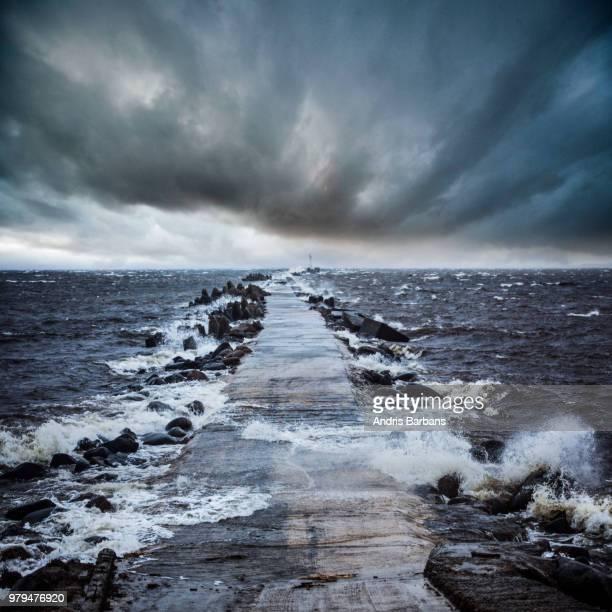Sea during storm, Riga, Latvia