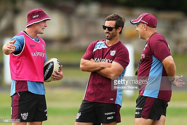 Sea Eagles assistant coach Andrew Johns speaks with Kieran Foran during a Manly Sea Eagles NRL preseason training session at Sydney Academy of Sport...