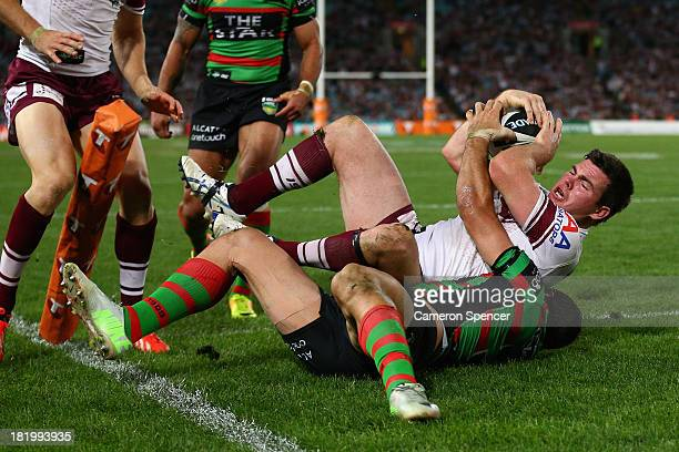 Sea Eagles captain Jamie Lyon scores a try during the NRL Preliminary Final match between the South Sydney Rabbitohs and the Manly Warringah Sea...