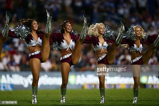 Sea Eagles cheerleaders perform before the round one NRL match between the Manly Warringah Sea Eagles and the Canterbury Bulldogs at Brookvale Oval...