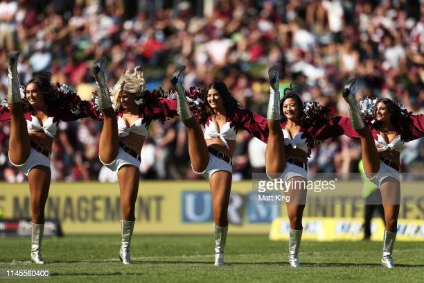Sea Eagles cheerleaders perform during the round 7 NRL match between the Manly Warringah Sea Eagles and the Canberra Raiders at Lottoland on April 28...