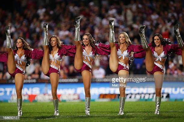 Sea Eagles cheerleaders perform during the round nine NRL match between the Manly Warringah Sea Eagles and the Sydney Roosters at Brookvale Oval on...