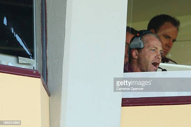 Sea Eagles coach Geoff Toovey watches the action from his box during the round six NRL match between the Manly Sea Eagles and the Cronulla Sharks at...