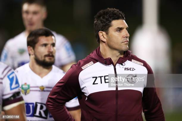Sea Eagles coach Trent Barrett looks on during the round 18 NRL match between the Penrith Panthers and the Manly Sea Eagles at Pepper Stadium on July...