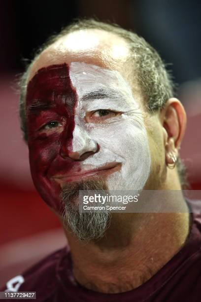 Sea Eagles fan shows his colours during the round two NRL match between the Manly Sea Eagles and the Sydney Roosters at Lottoland on March 23 2019 in...