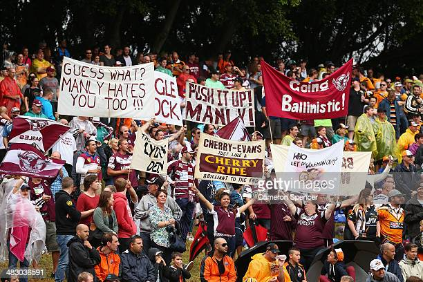 Sea Eagles fans show their colours during the round five NRL match between the Wests Tigers and the Manly-Warringah Sea Eagles at Leichhardt Oval on...